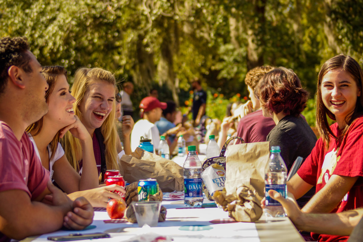 Photo of students participating in The Longest Table @ FSU